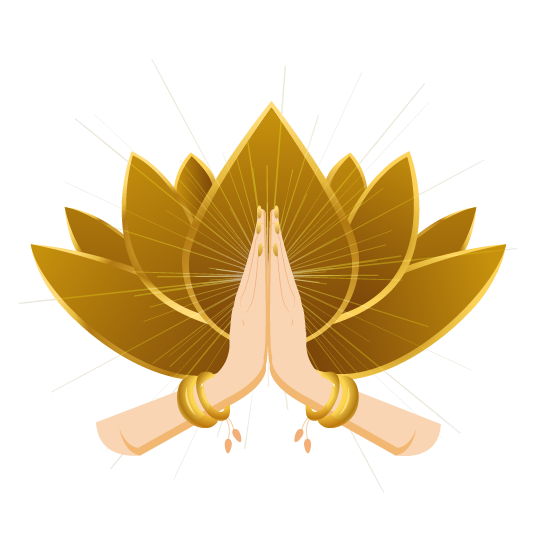 Hands in Namaste position in front of a lotus flower