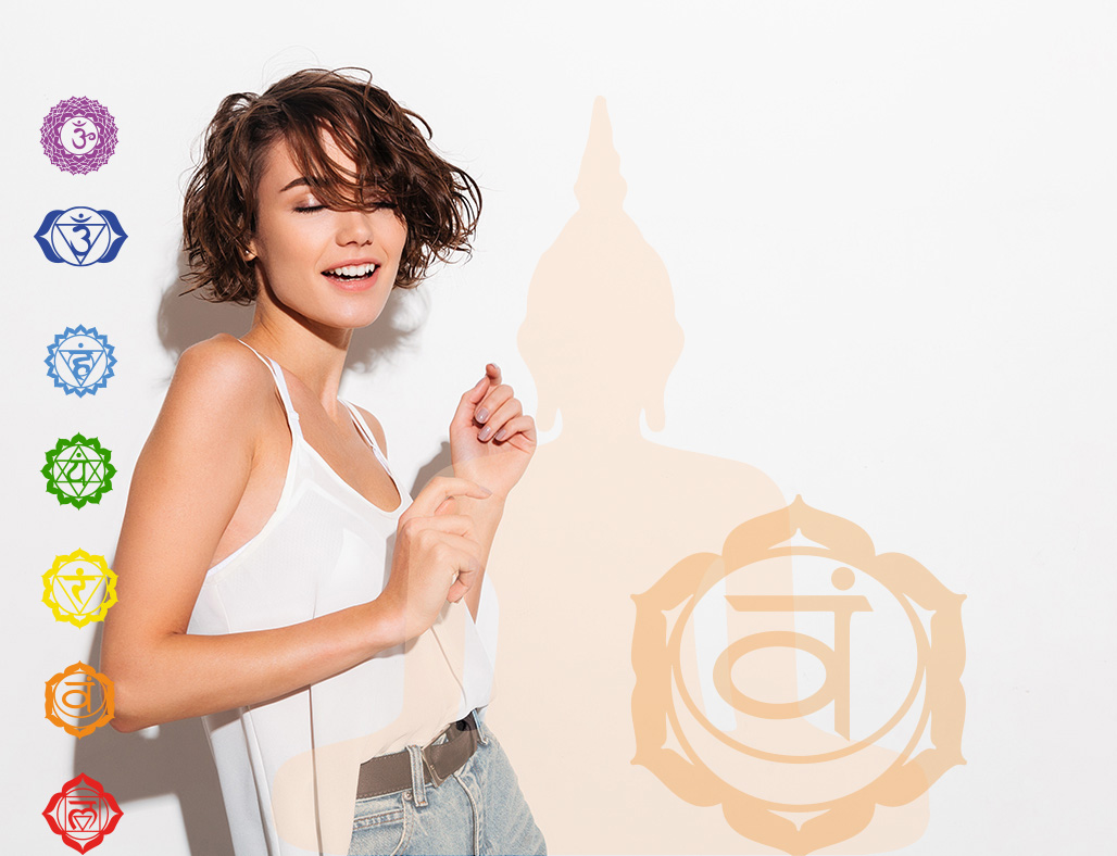 Portrait of an attractive smiling girl posing while dancing isolated over white background